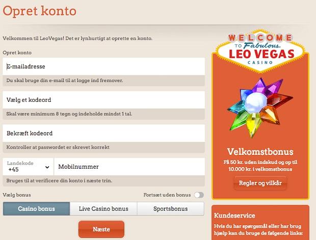 Leo Vegas-registration lk