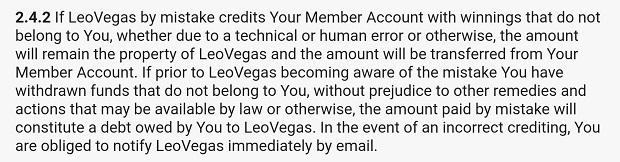 Leo Vegas-terms-mistakes