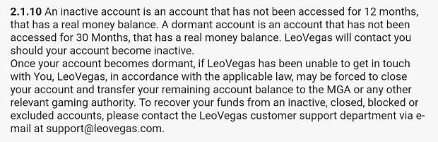 Leo Vegas-terms unactive account