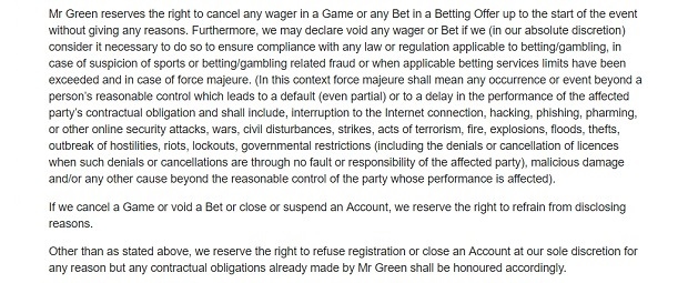 Mr Green Casino-cancellation of bets