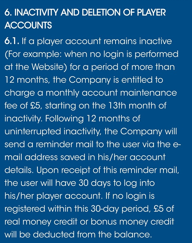 Sloty Casino-inactive account