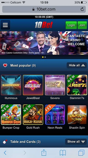 10Bet Casino-mobile version