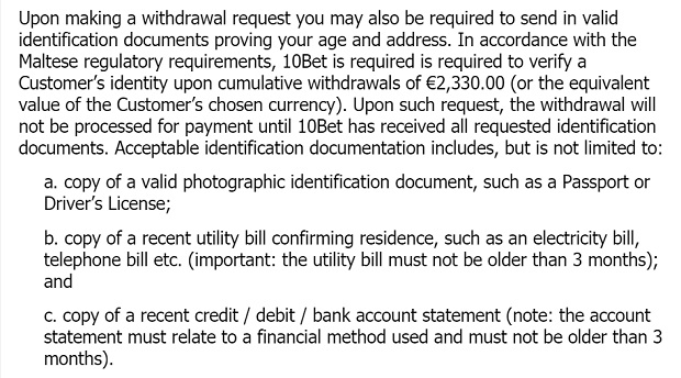 10Bet Casino-identify documents