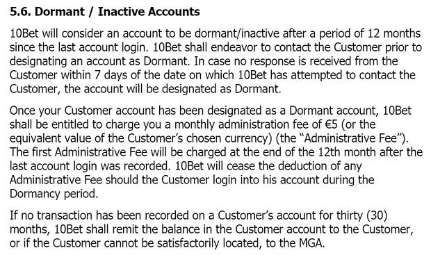 10Bet Casino-inactive account