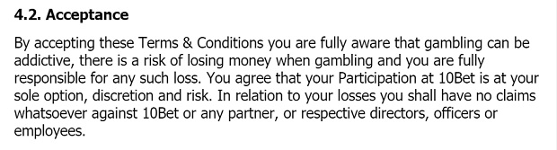 10Bet Casino-terms risks