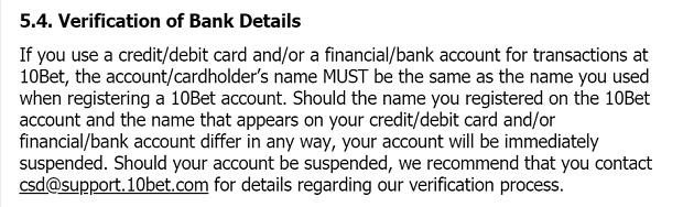 10Bet Casino-terms verification