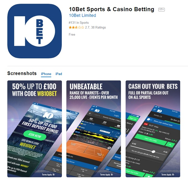 10Bet Casino-mobile app
