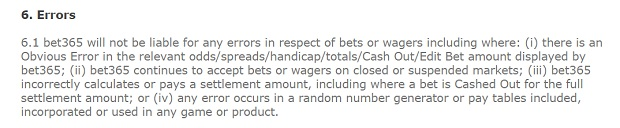 Bet365 Casino-system errors
