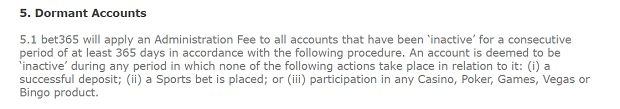 Bet365 Casino-inactive account