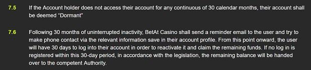 Betat Casino-inactive profile close