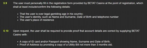 Betat Casino-profile verification