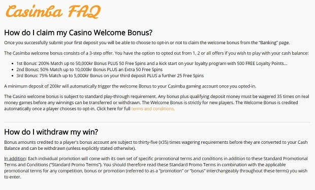 Casimba Casino-FAQ support