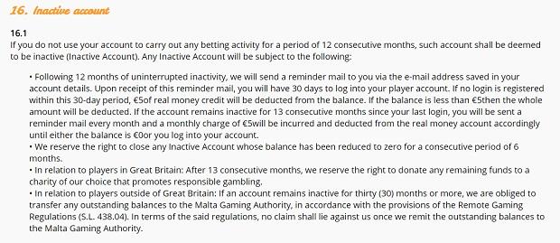 Casimba Casino-inactive account