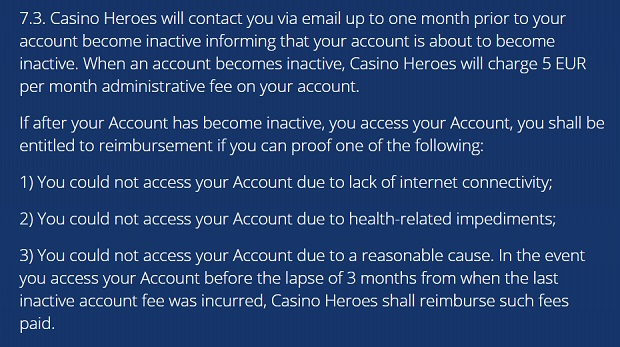 Casino Heroes-terms inactive account