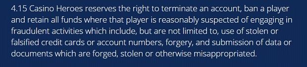 Casino Heroes-suspicion of fraud