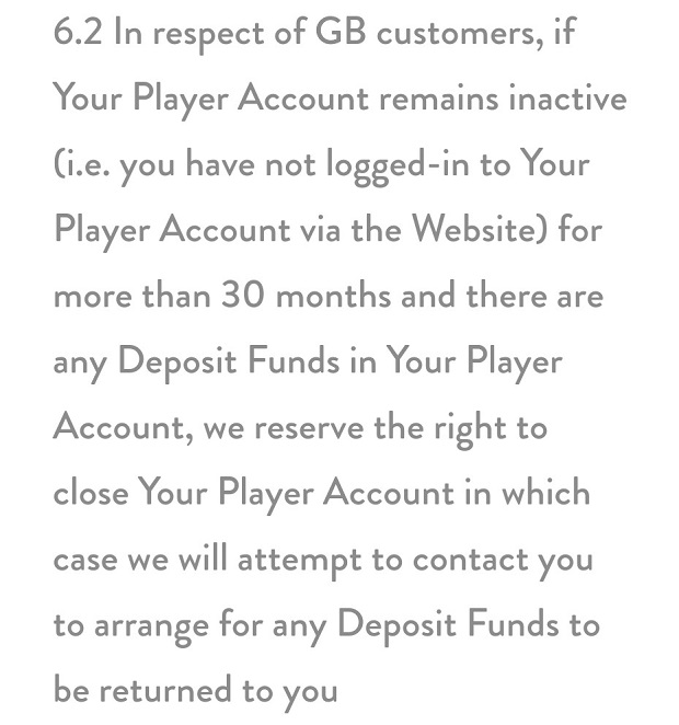 Dunder Casino-unactive account
