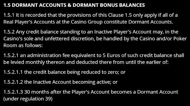 Gaming Club-dormant account