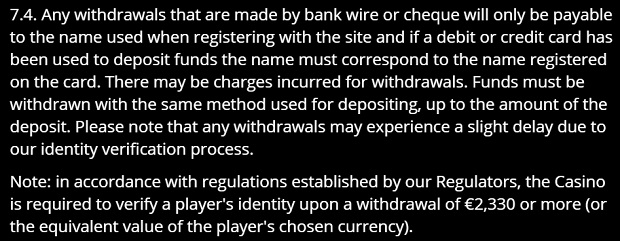 Gaming Club-withdrawal conditions