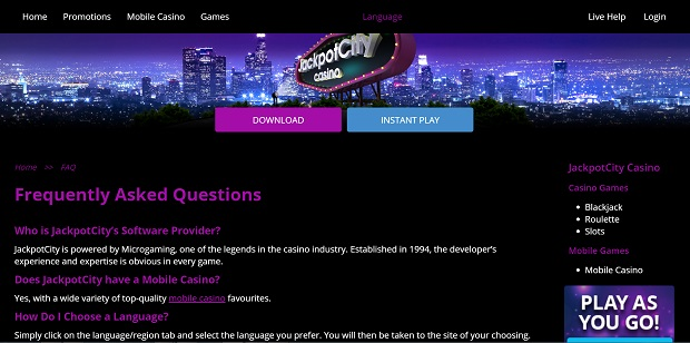 JackpotCity Casino-support service