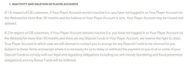 Rizk Casino-inactive account