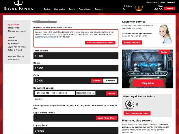Royal Panda Casino-register
