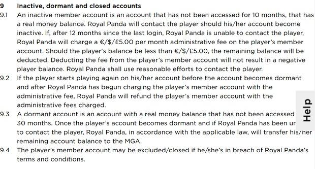 Royal Panda Casino-inactive account