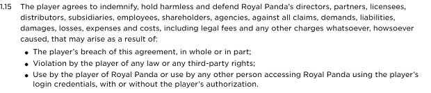 Royal Panda Casino-exemption from liability