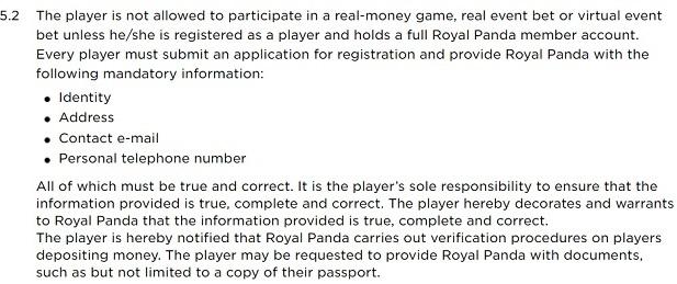 Royal Panda Casino-terms registration