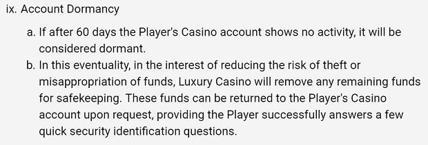 Luxury Casino-inactive-account
