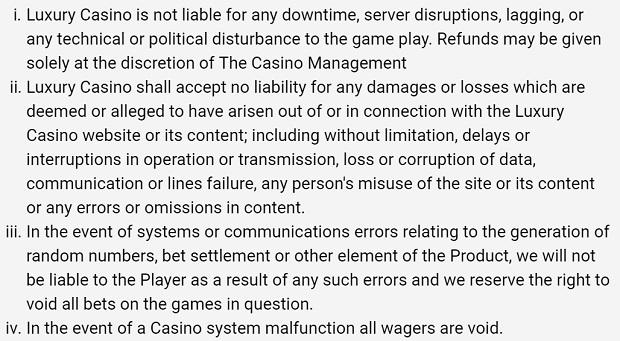 Luxury Casino-llimit-sistem-errors