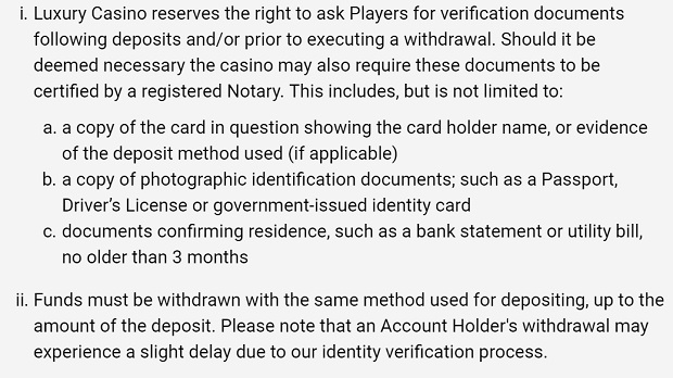 Luxury Casino-verify-documents