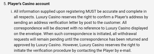 Luxury Casino-verification-procedure
