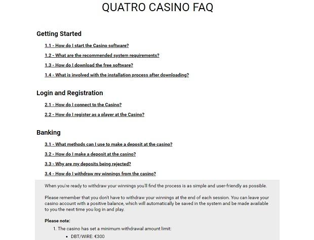 Quatro Casinо-support-faq
