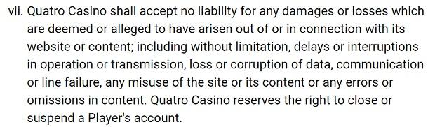 Quatro Casinо-liability-for-damages