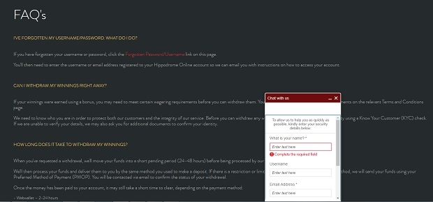 The Hippodrome Online-support-faq-chat
