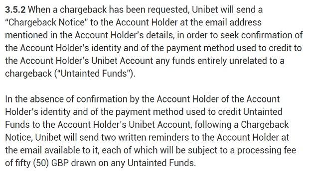 Unibet-chargeback