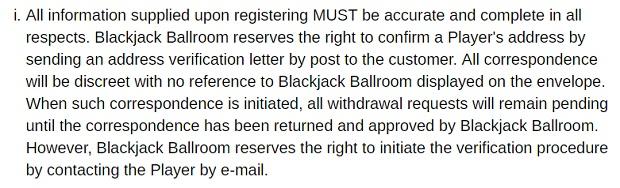 Blackjack Ballroom Casino-accuracy of information