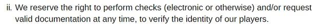 Blackjack Ballroom Casino-identity verification