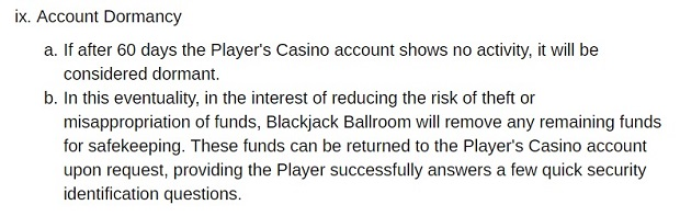 Blackjack Ballroom Casino-dormant account
