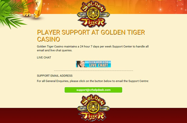 Golden Tiger Casino-support