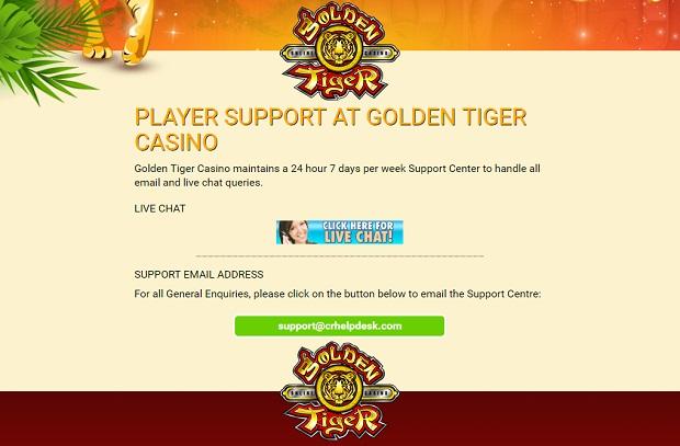 Golden Tiger Casino-support