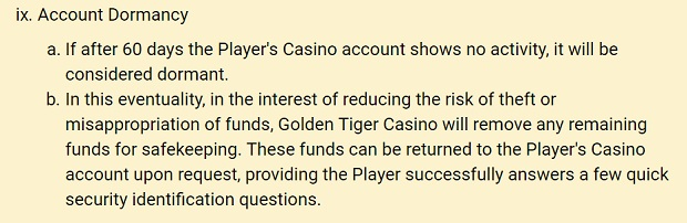 Golden Tiger Casino-dormant account