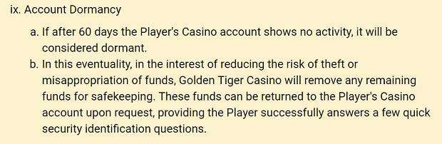 Golden Tiger Casino-dormant account