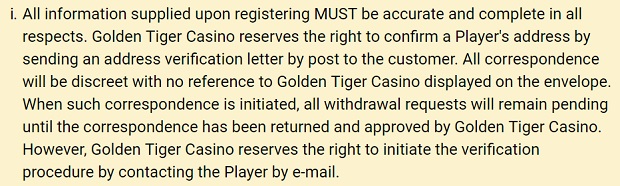 Golden Tiger Casino-identity verification