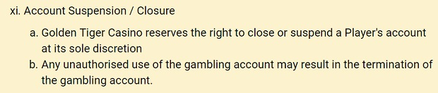 Golden Tiger Casino-account closure
