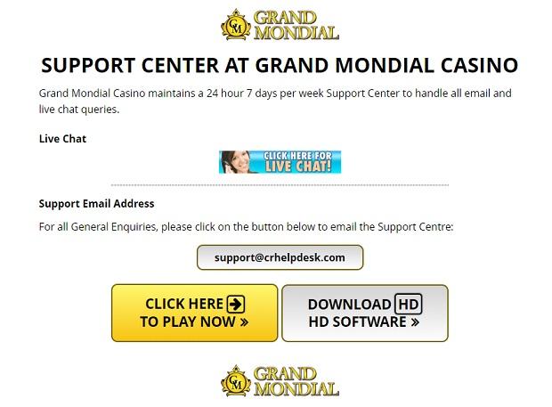 Grand Mondial Casino-support service