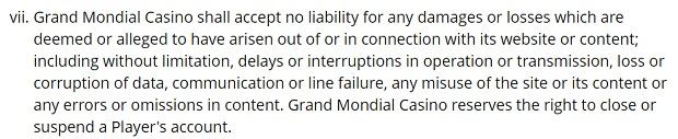 Grand Mondial Casino-website errors