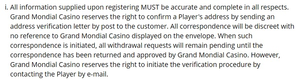 Grand Mondial Casino-verification
