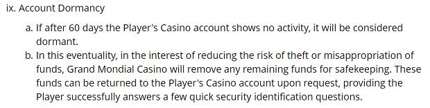 Grand Mondial Casino-dormant account