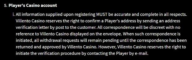 Villento Casino-verification-e-mail